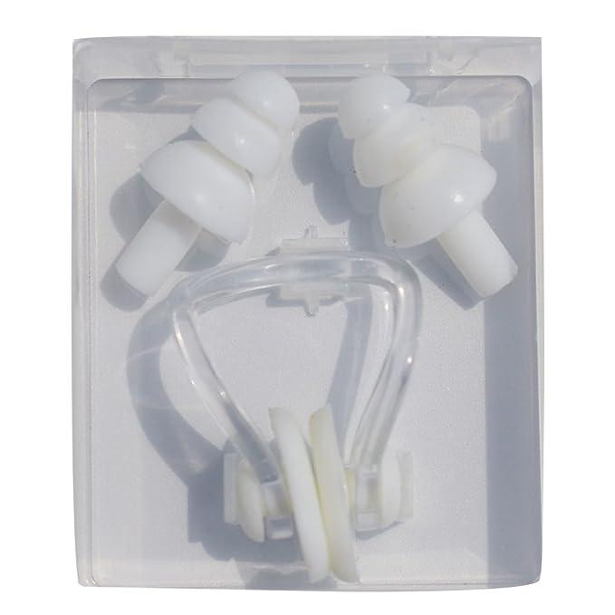 Color Blanco PVC Silicona Naisidier Tap/ón de o/ídos y Clips de Nariz para nataci/ón para Hombres y Mujeres Adultos