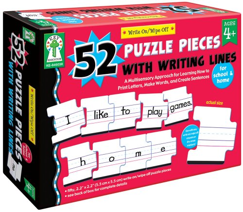 (Carson-Dellosa Key Education Write-On/Wipe-Off: 52 Puzzle Pieces with Writing Lines Manipulative (846038))