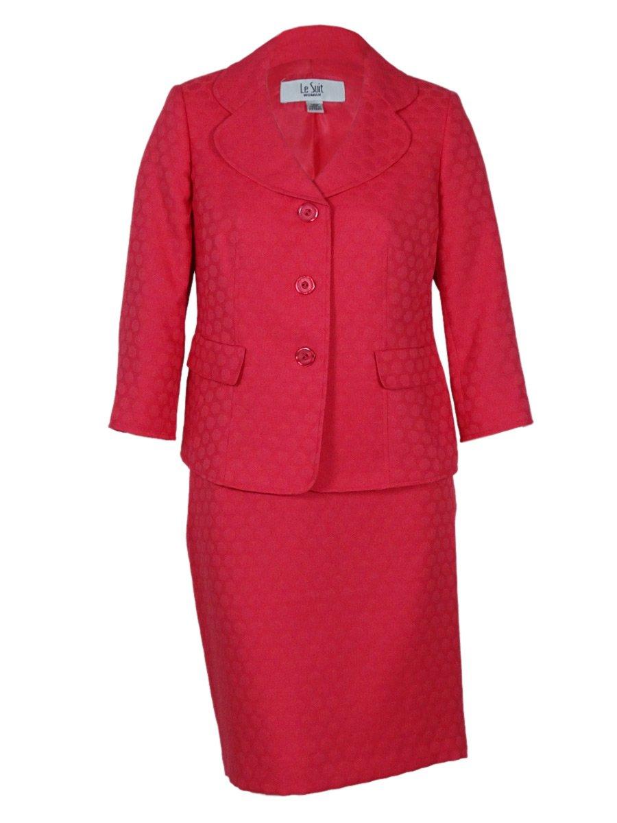 Le Suit Women's Plus-Size 3 Button Circle Jacket with Skirt Set, Coral, 18