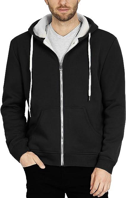 ZIOLOMA Mens Sherpa Lined Zip Up Hoodie Jacket Thermal Full