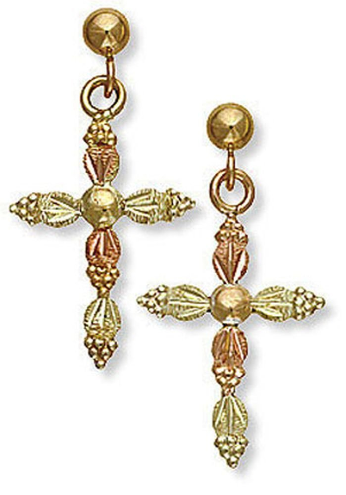 Landstroms 10k Black Hills Gold Cross Earrings, for Pierced Ears - ER525