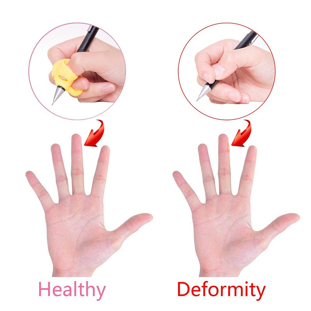 Pencil Grips,9pcs Kids Pencil Holder Writing Training Silicone Pencil Aid Grip Set Fish Dolphin Grip Butterfly Grip 3 Fingers Pencil Grip