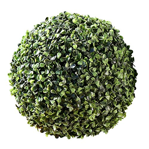 Whole House Worlds The Grammercy Boxwood Ball, 9 inch, Lush Green, Bowl Filler Globe, Faux Boxwood Leaves, Reproduction in Plastic, By (Globe Topiary)