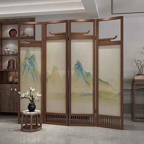 EVEN Legacy Decor 4 Panel, Divisor de habitación con pantalla de madera de color espresso, Decoración de aleros antiguos chinos creativos, Divisor de habitación Paneles de pantalla decorativos hecho: Amazon.es: Hogar