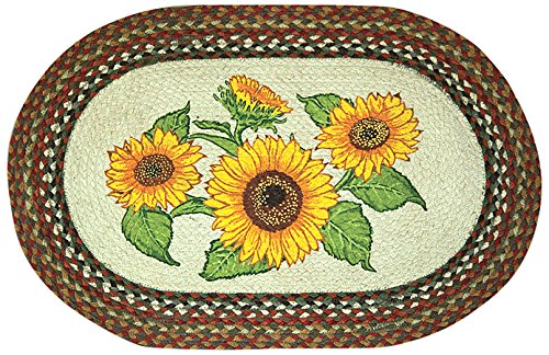 Earth Rugs 65-300S Sunflowers Oval Design Rug Braided, 20″ x 30″, Honey/Vanilla/Ginger Review