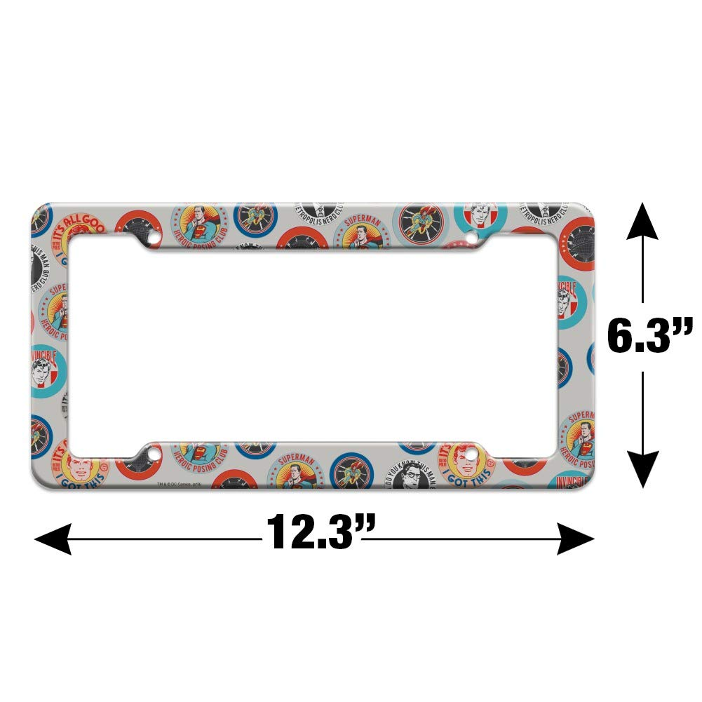 Graphics and More Superman Button Pattern License Plate Tag Frame
