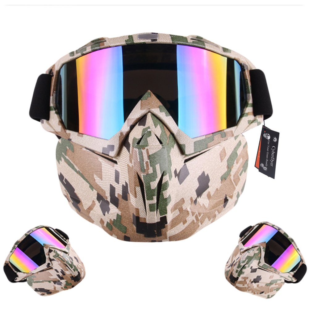 CyberDyer Anti-Fog Windproof Motorcycle Safety Goggles Full Face Mask Ideal for Riding Snowmobile Skiing Or Halloween Party (Black) .