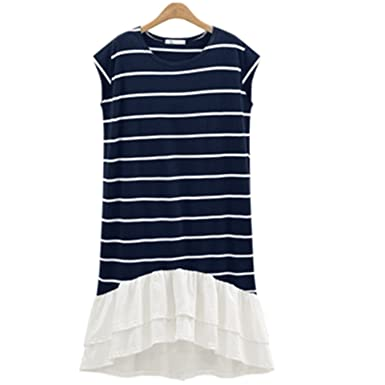 38365b659 Small-shop American Wind Large Size Women s Round Neck Short Sleeve ...