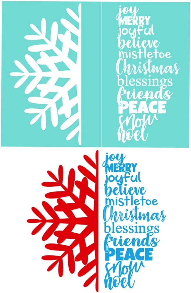 12PCS 11/×8.5 YeulionCraft Self-Adhesive Silk Screen Printing Stencil Christmas Style Reusable Sign Stencils for Painting on Wood DIY Decoration
