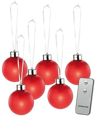 Beleuchtete Christbaumkugeln.Lunartec Beleuchtete Weihnachtsbaum Kugeln Aus Glas Fernbed 6 Stück Rot