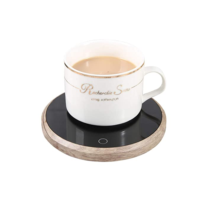 "Coffee Warmer Plate Mug Warmer Electric for Desk of Home or Office, Keep Coffees and Drinks Warm, 4.5"" diameter (Wood)"