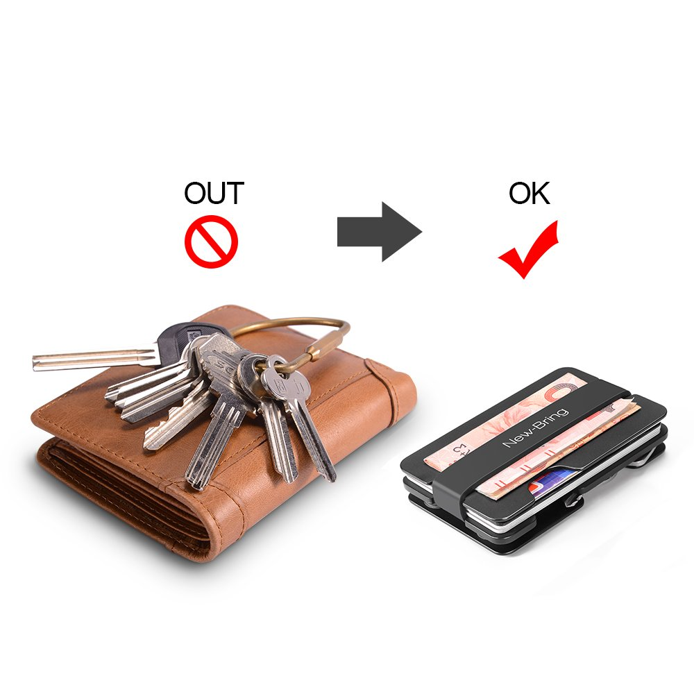NewBring Multi-functional Metal Money Clip Men with Credit Card Wallet and key