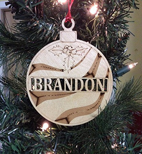 Amazon.com: Personalized christmas ornament ,wooden name ornament ...