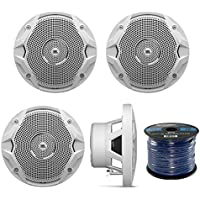 4 X New JBL MS6510 6.5 150 Watts Marine Boat Yacht Outdoor Waterproof Stereo Audio Speakers System with 50 Ft. Marine Speaker Wire Bundle - Great Marine Speakers Kit (4)