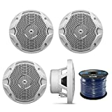 4 X New JBL MS6510 6.5'' 150 Watts Marine Boat Yacht Outdoor Waterproof Stereo Audio Speakers System with 50 Ft. Marine Speaker Wire Bundle - Great Marine Speakers Kit (4)