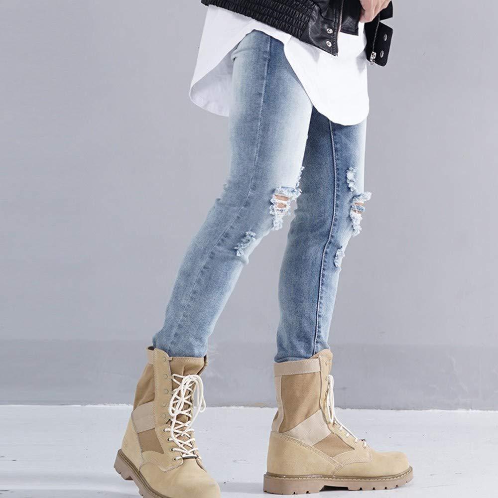 NPRADLA Vaqueros Jeans Tendencia Hombres Slim Zole Zipper ...