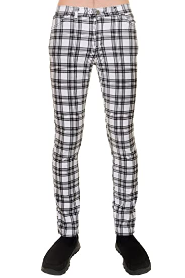 Mens Vintage Retro 60s Mod Black   White Tartan Plaid Stretch Skinny Jeans   Amazon.co.uk  Clothing b9afdf961