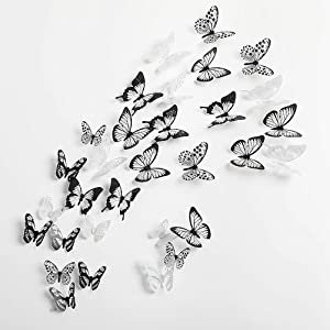 aooyaoo 90pcs 3D Wall Stickers Home Decor Butterflies Wall Sticker Kids Home Decoration Butterflies (Black and White)