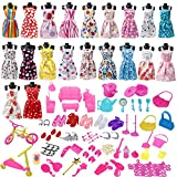 136Pcs Barbie Doll Clothes Set, 20 Pack Barbie Clothes Party Grown Outfits Dresses and 116pcs Different Doll Accessories Shoes bags Glasses Necklace Tableware for Little Girl Birthday Christmas Gift