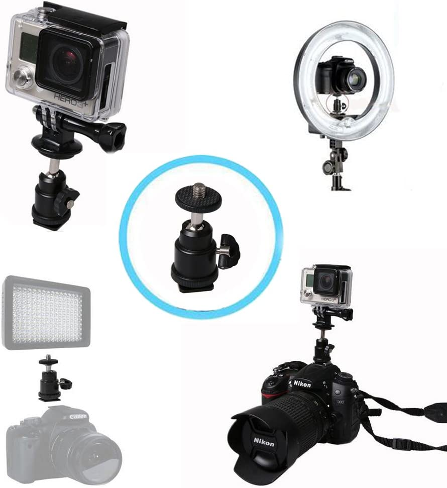 Hot Shoe Mount Adapter Walway 360 Degree 1//4 Screw Swivel Mini Ball Head Cradle Adapter for DSLR Camera//Camcorder//Microphone//Video Monitor//LED Video Light