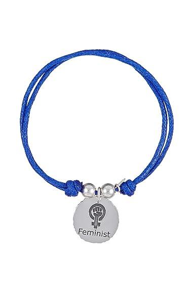 Pulsera en Plata de Ley 925 con diseño Feminist Algodón Azul