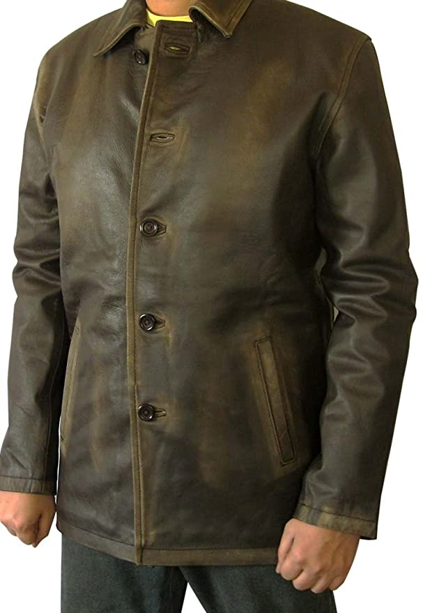 Mens Brown Distressed Leather Car Coat at Amazon Men\'s Clothing store: