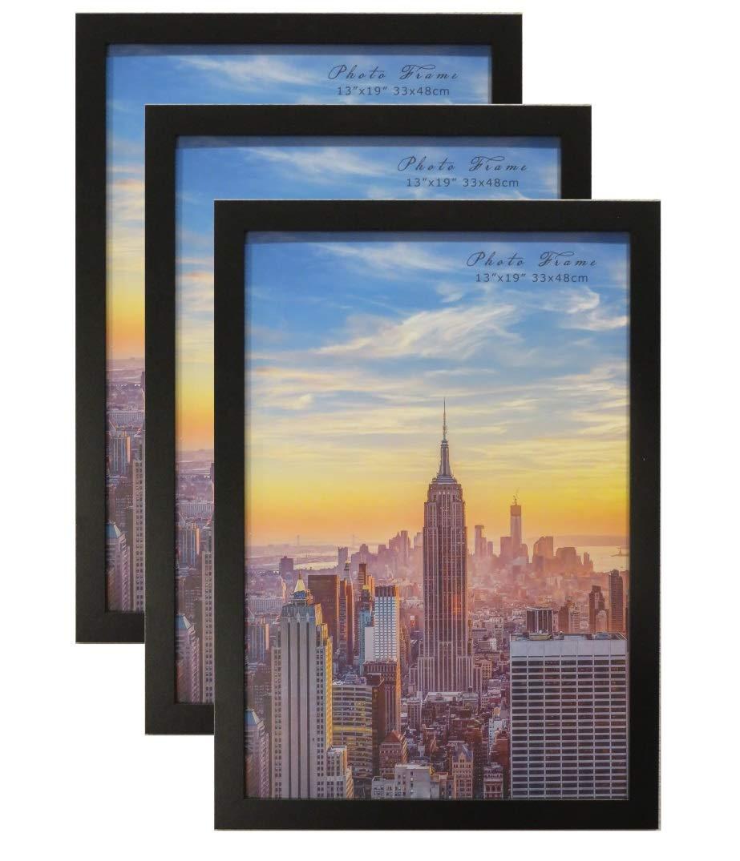 Frame Amo 13x19 Black Modern Wood Picture or Poster Frame, 1 inch Wide Border, 3-Pack