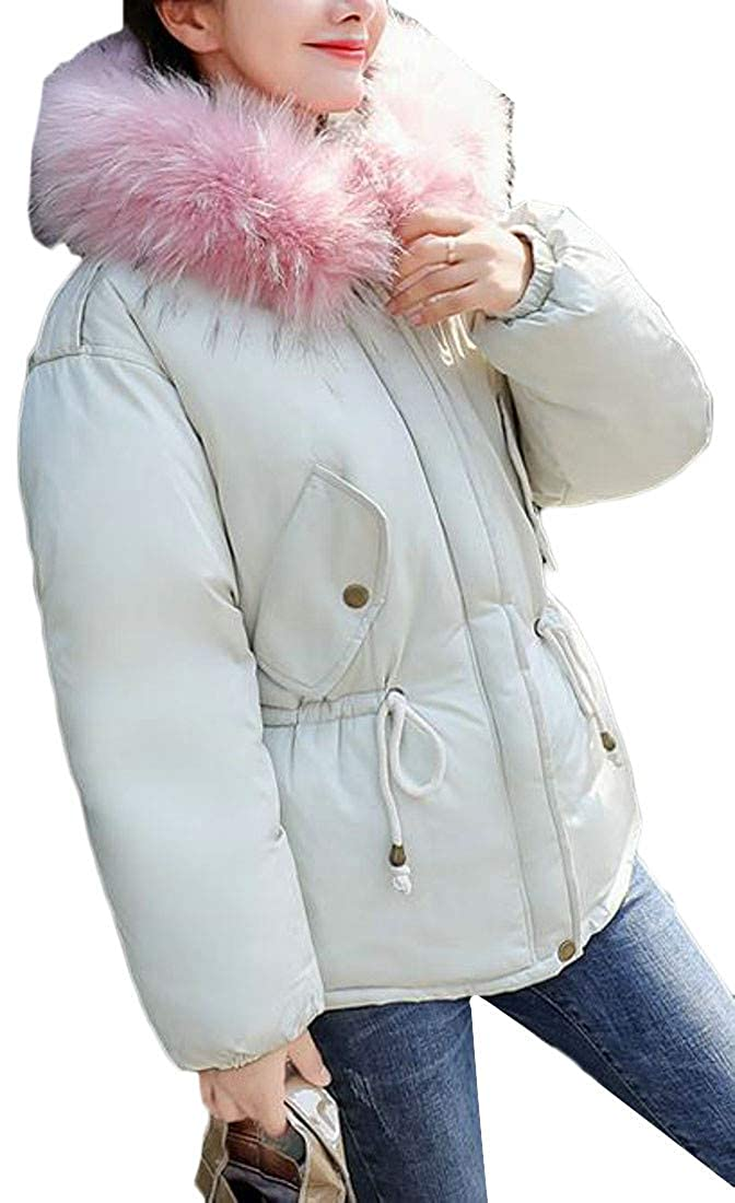 Cromoncent Girl Winter Thicken Faux Fur Hooded Cotton-Padded Down Jacket Parka Coat