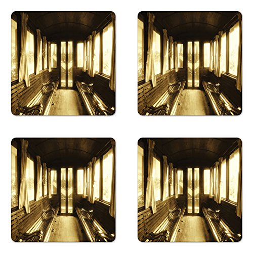 - Ambesonne Antique Coaster Set of Four, Old Vintage Train Salon Inside Historical Transport Windows with Curtains Arch Shape, Square Hardboard Gloss Coasters for Drinks, Sepia