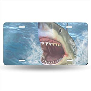 Shark Jumping Out of Water License Plate Decorative Car Front License Plate Aluminum Novelty Metal Car Tag 6 x 12 Inch