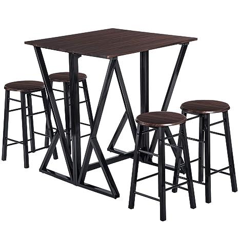 Amazon.com: JULYFOX - Juego de mesa de comedor para 4 sillas ...