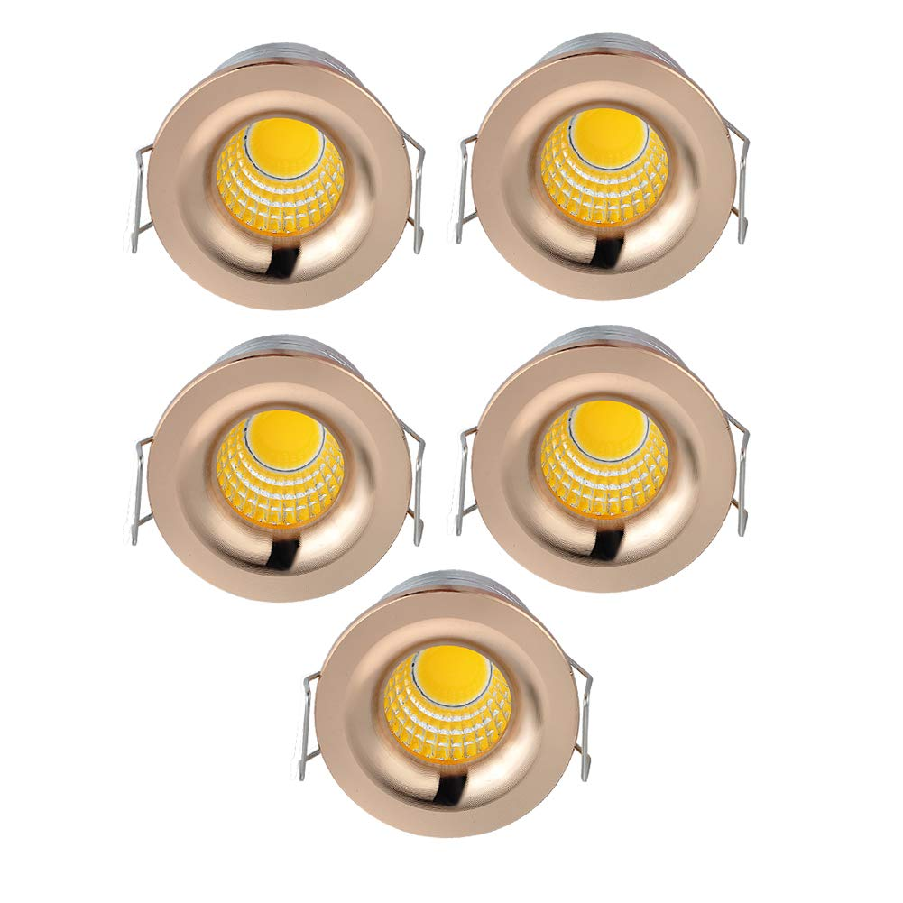 INHDBOX 5 Pack 3W Mini COB Recessed Ceiling Downlight Kit Warm White - Rose Gold Aluminum Light Cover & PC Mirror With LED Driver-Warm Light