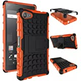 Heartly Flip Kick Stand Spider Hard Dual Rugged Armor Hybrid Bumper Back Case Cover For Sony Xperia Z5 Compact - Mobile Orange