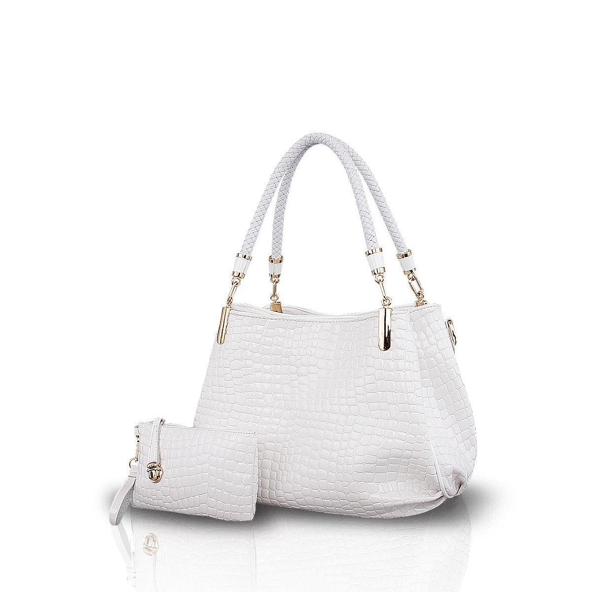 NICOLE&DORIS New Crocodile Grain PU Leather Women/Ladies Shoulder Bag Handbag Crossbody Totes Large Bag White