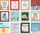 Christmas Wine Labels by VelvetGuru - Set Of 12 Waterproof Wine Bottle Stickers for Christmas Gifts & New Year's Eve Decorations