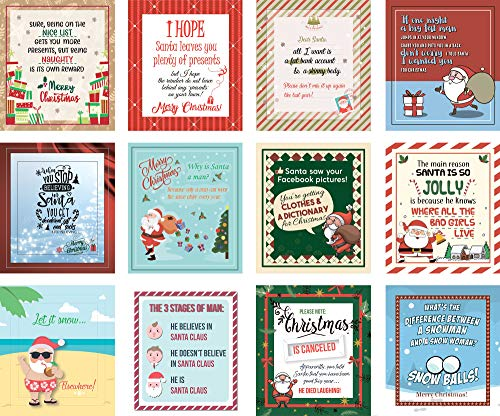 Christmas Wine Labels by VelvetGuru - Set Of 12 Waterproof Wine Bottle Stickers for Christmas Gifts & New Year's Eve Decorations -