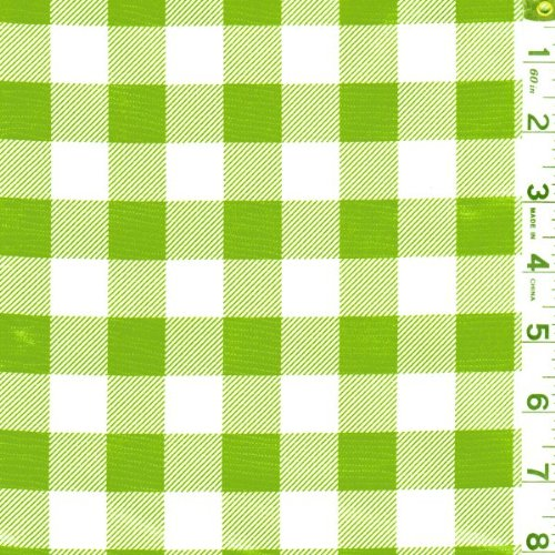 Roll Oilcloth - Green Check Oilcloth, Fabric By the Yard