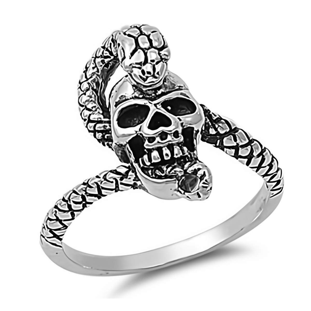 Cute Jewelry Gift for Women in Gift Box Skull /& Snake Glitzs Jewels 925 Sterling Silver Ring
