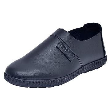 LuckyGirls Zapatillas Cuero Negocio para Hombre Vintage Casual Calzado de Planos Informales Bambas Zapatos para Perezoso Náuticos Mocasines Sin Cordones: ...