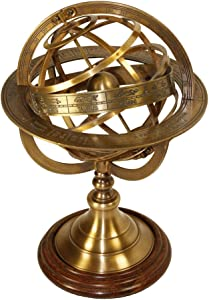 RedSkyTrader Brass Antique Finish Armillary Celestial Globe with Zodiac Engravings