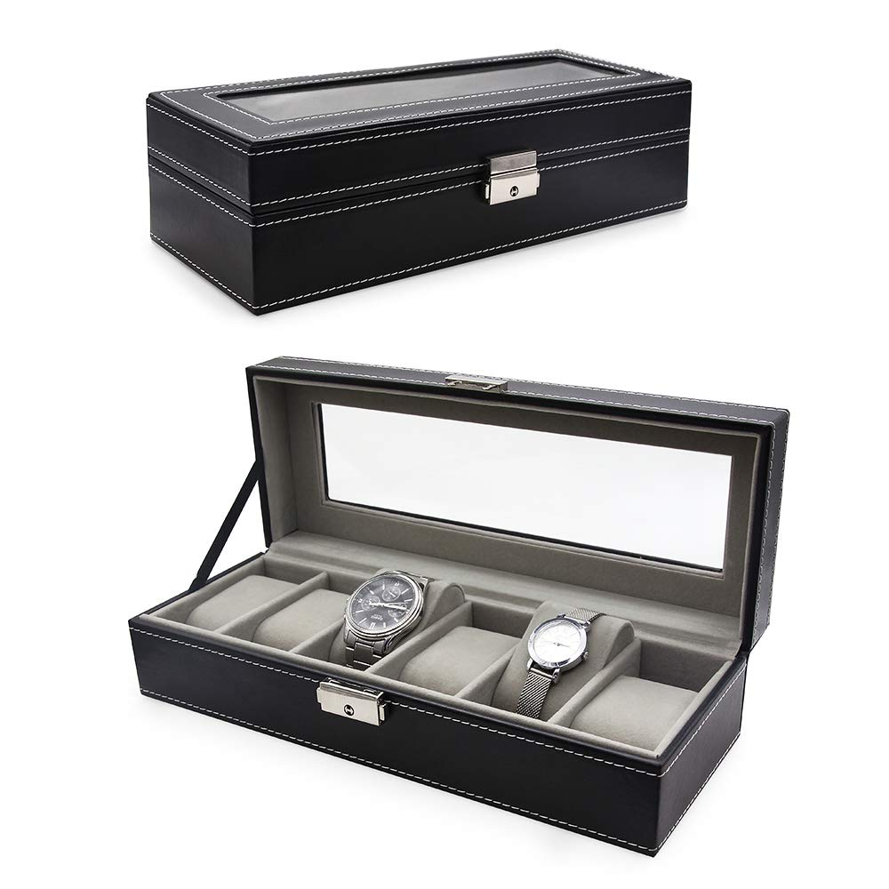 VEEAPE Watch Box, 6 Slots PU Leather Case Organizer Glass Top for Storage and Display, Black