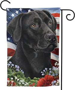 Will Budxegl Labrador Black Dog Lab American USA Flag 28 X 40 12.5X 18 Big Iarge Jumbo for Party Themed Welcome Outdoor Outside Decorations Ornament Picks Garden Yard Decor Double Sided Flag