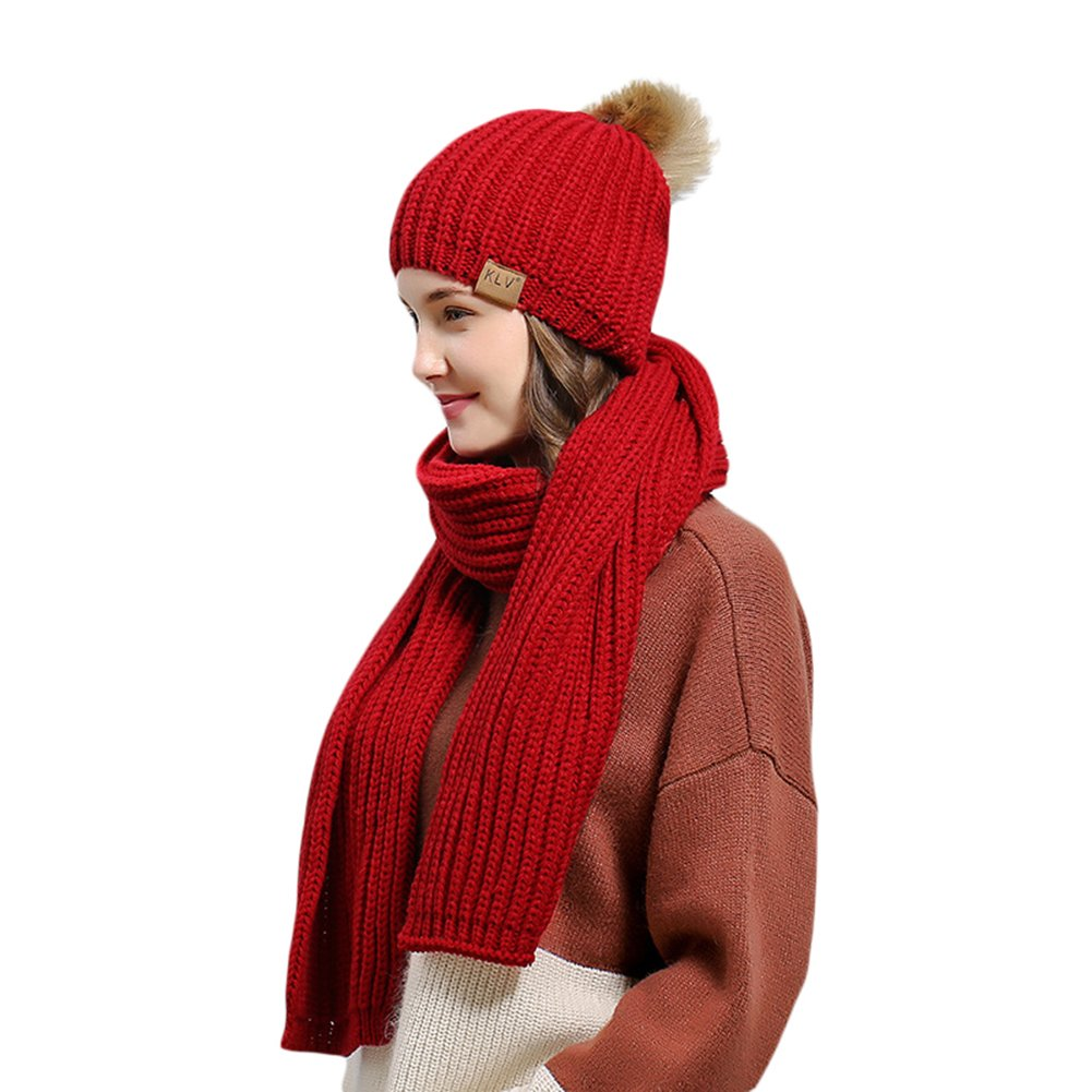 potato001 Women Girls Winter Warm Solid Color Knitted Bobble Pompom Beanie Hat + Scarf Set (Red)