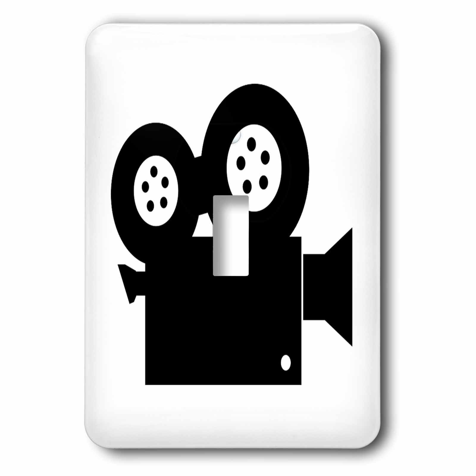 3dRose Florene Black And White - Image of Silhouette Of Movie Projector - Light Switch Covers - single toggle switch (lsp_234439_1)
