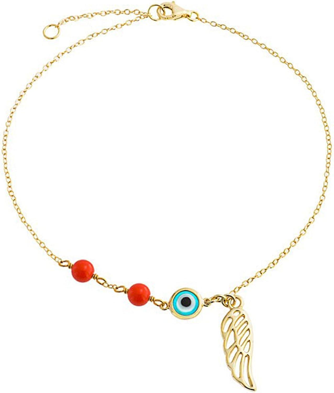 Bling Jewelry Mal De Ojo ala Ángel Guardián Pulsera para Adolescente 14K Chapado En Oro Y Plata Esterlina 9-10 Pulgadas Ajustable