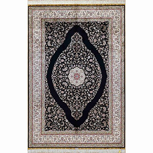 (Yilong 5.5'x8' Hand Knotted Silk Carpet Classic Antique Kerman Medallion Handmade Floral Rugs (Black) YL0205)