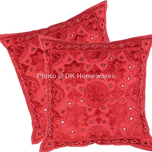 DK Homewares Bohemian Throw Pillow Slipcovers Cushion Covers Brick Red Mirrored Work Embroidered Cotton Square Pillow Covers Set of 2 40 x 40 cm (16x16 Inch)