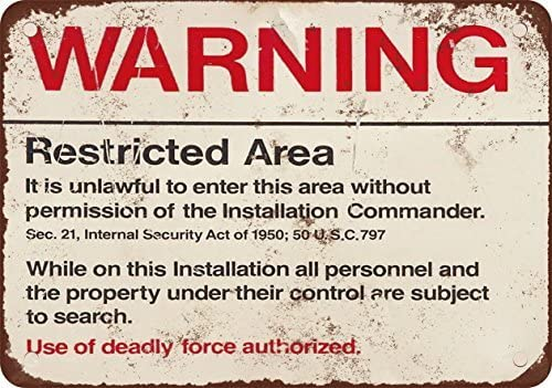 """Area 51 Warning Deadly Force Vintage Style Retro Steel Metal Sign 8/"""" x 14/"""""""