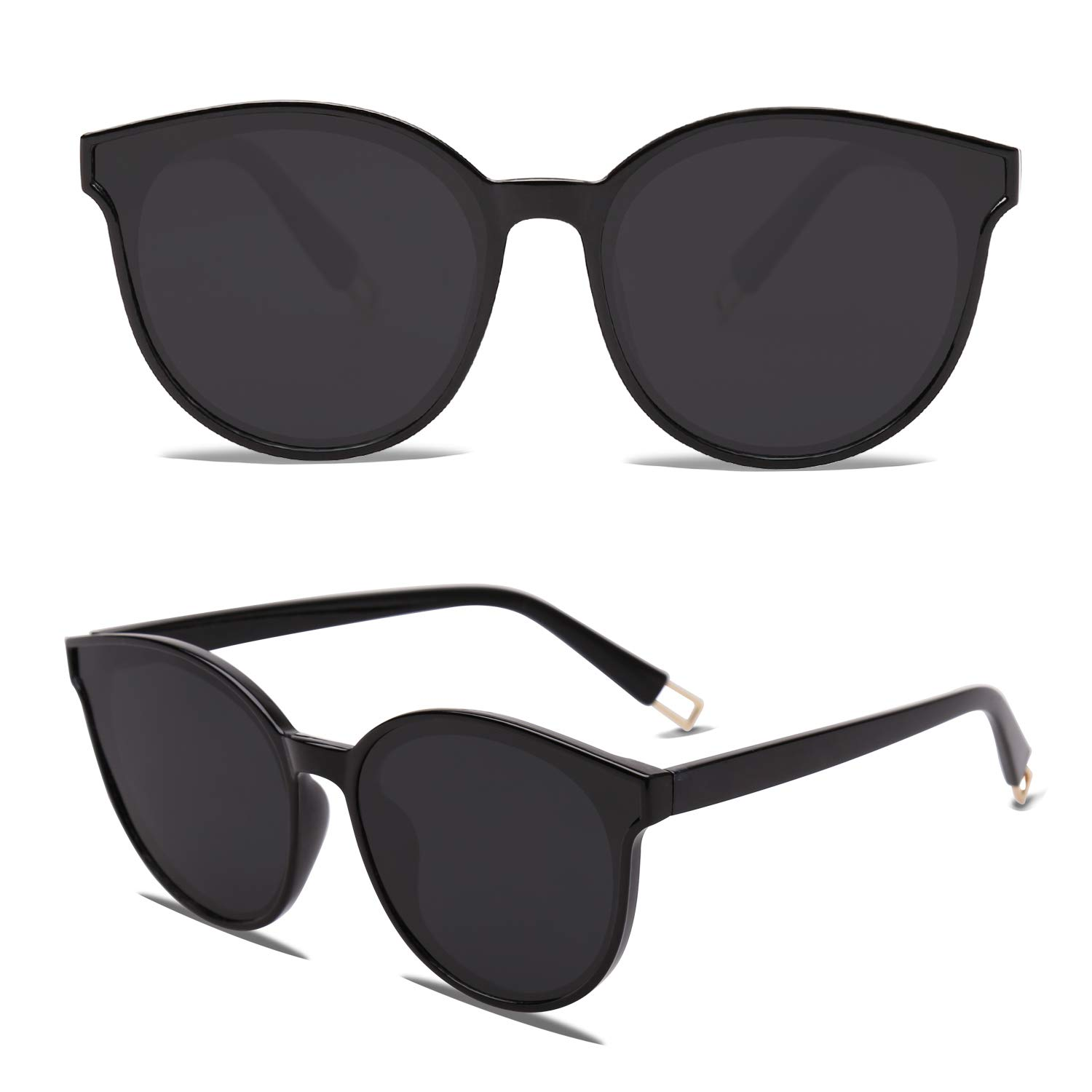 c11a27cd6f SOJOS Fashion Round Sunglasses for Women Men Oversized Vintage Shades  SJ2057 with Black Frame Grey Lens at Amazon Women s Clothing store