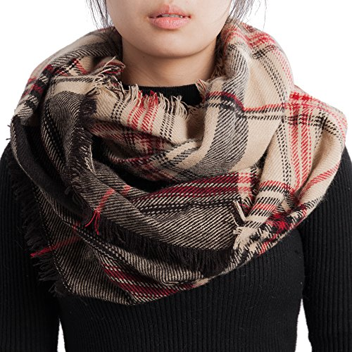 Infinity Flower (Women Checked Pattern Cashmere Feel Lightweight Knitting Plaid Infinity Scarf (5-Kk))